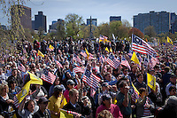 Boston, Massachussets, April 14, 2010 - Tea Party supporters gathered in the Boston Common for a Tea Party Express rally, the second to last stop on their 43-city tour across the country. The tour which began in Searchlight, NV, hometown of Senate Majority Leader Harry Reid, will conclude tomorrow in Washington, D.C.  for a tax day rally. Anti-incumbent sentiment is a common theme at the rallies.