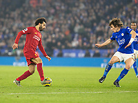 26th December 2019; King Power Stadium, Leicester, Midlands, England; English Premier League Football, Leicester City versus Liverpool; Mohamed Salah of Liverpool with the ball at his feet as he is marked by Caglar Soyuncu of Leicester City  - Strictly Editorial Use Only. No use with unauthorized audio, video, data, fixture lists, club/league logos or 'live' services. Online in-match use limited to 120 images, no video emulation. No use in betting, games or single club/league/player publications