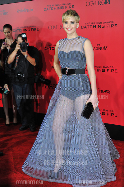 Jennifer Lawrence at the US premiere of her movie &quot;The Hunger Games: Catching Fire&quot; at the Nokia Theatre LA Live.<br /> November 18, 2013  Los Angeles, CA<br /> Picture: Paul Smith / Featureflash