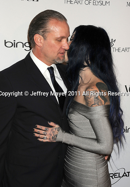 """LOS ANGELES, CA - January 15: Kat Von D (R) and Jesse James arrive at Art Of Elysium's 4th Annual """"Heaven"""" Charity Gala at California Science Center's Wallis Annenberg Building on January 15, 2011 in Los Angeles, California."""
