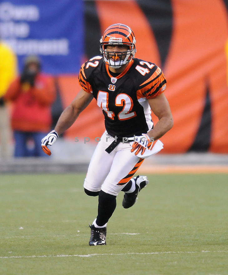 CHRIS CROCKER, of the Cincinnati Bengals, in action during the Bengals game against the New York Jets on January 9, 2010 in Cincinnati, OH. Jets won 24-14.