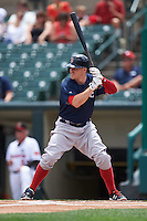 Pawtucket Red Sox left fielder Brock Holt (16), on rehab assignment from the Boston Red Sox, at bat during a game against the Rochester Red Wings on June 29, 2016 at Frontier Field in Rochester, New York.  Pawtucket defeated Rochester 3-2.  (Mike Janes/Four Seam Images)