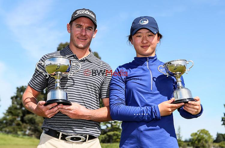 Brad Shilton and Rose Zheng during the John Jones Steel Harewood Open, Harewood Golf Course, Christchurch, Sunday 16 October 2016. Photo: Simon Watts/www.bwmedia.co.nz