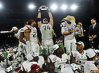 NWA Media/Michael Woods --12/29/2014-- w @NWAMICHAELW...University of Arkansas players celebrate their 31-7 win over the University if Texas at the Texas Bowl Monday night at  NRG Stadium in Houston.