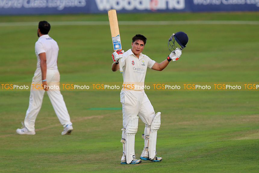 Kiran Carlson of Glamorgan celebrates scoring a century, 100 runs during Essex CCC vs Glamorgan CCC, Specsavers County Championship Division 2 Cricket at the Essex County Ground on 12th September 2016