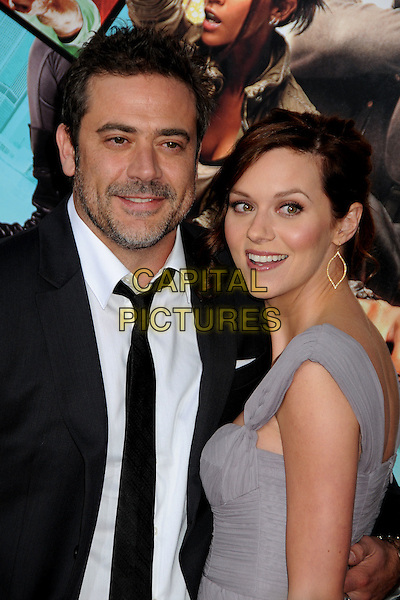 "JEFFREY DEAN MORGAN & HILARIE BURTON.""The Losers"" Los Angeles Premiere held at Grauman's Chinese Theatre, Hollywood, California, USA, .20th April 2010..half length  beard facial hair black  tie white shirt smiling grey gray dress suit side couple .CAP/ADM/BP.©Byron Purvis/AdMedia/Capital Pictures."