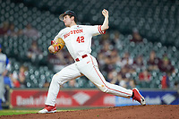 Houston Cougars relief pitcher Griffin Hattingh (42) in action against the Kentucky Wildcats in game two of the 2018 Shriners Hospitals for Children College Classic at Minute Maid Park on March 2, 2018 in Houston, Texas.  The Wildcats defeated the Cougars 14-2 in 7 innings.   (Brian Westerholt/Four Seam Images)