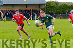 Finuge V Brosna: Finuge's Shane Conway wins the ball ahead of Brosna's  Mike Finnegan in their quarter final game in the The Bernard O'Callaghan Memorial Senior Football Championship game sponsored by McMunn's Bar & Restaurant, Ballybunion held in Mountcoal on Saturday last.