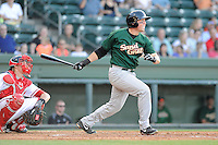 Infielder Cole Frenzel (24) of the Savannah Sand Gnats bats in a game against the Greenville Drive on Wednesday, May 29, 2013, at Fluor Field at the West End in Greenville, South Carolina. Greenville won, 5-1. The Drive catcher is Jordan Weems. (Tom Priddy/Four Seam Images)