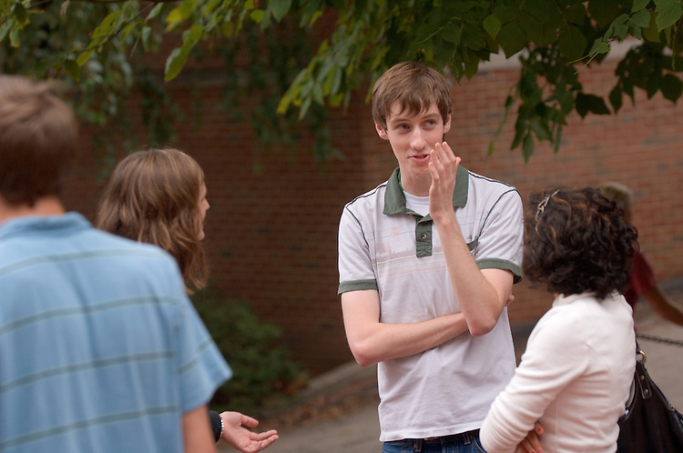 17805Campus Shots: Students... Matt Irwin, Jessica Tyroler(white shirt),Jessica Goodyear(left)