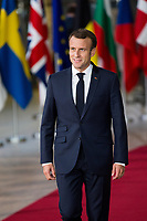 French President Emmanuel Macron attends the EU summit meeting - Brussels - Belgium
