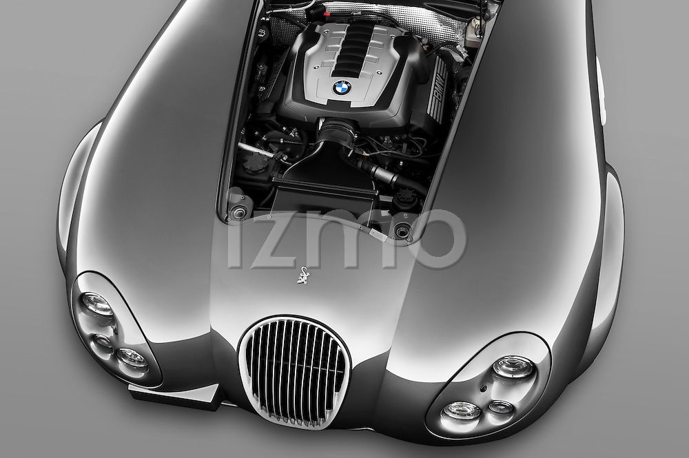 High angle engine detail of a 2009 - 2014 Wiesmann MF4 GT 2 Door Coupe .