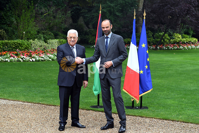 Palestinian President Mahmoud Abbas, meets with French Prime Minister Edward Philippe in Paris, on July 5, 2017. Photo by Thaer Ganaim