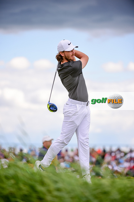 Tommy Fleetwood (ENG) watches his tee shot on 7 during Sunday's round 4 of the 117th U.S. Open, at Erin Hills, Erin, Wisconsin. 6/18/2017.<br /> Picture: Golffile | Ken Murray<br /> <br /> <br /> All photo usage must carry mandatory copyright credit (&copy; Golffile | Ken Murray)
