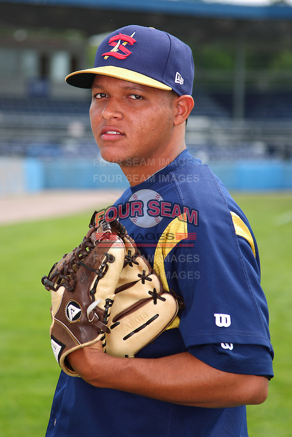 State College Spikes pitcher Fraylin Campos #35 poses for a photo before a game against the Batavia Muckdogs at Dwyer Stadium on July 7, 2011 in Batavia, New York.  Batavia defeated State College 16-3.  (Mike Janes/Four Seam Images)