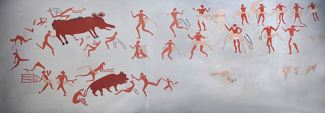 Recontructed fresco of an original found at Catalhoyuk depicting two animals being hunted. The men are wearing what scolars believe were leopard skin costumes. Painted by Mutlu Gundiler. Reconstructed houses, 7500 BC to 5700 BC, Catalyhoyuk Archaeological Site, Çumra, Konya, Turkey