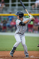 Hoy Jun Park (34) of the Pulaski Yankees at bat against the Burlington Royals at Burlington Athletic Park on August 6, 2015 in Burlington, North Carolina.  The Royals defeated the Yankees 1-0. (Brian Westerholt/Four Seam Images)