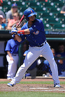 Iowa Cubs Juan Perez (5) bats during the Pacific Coast League game against the Memphis Redbirds at Principal Park on June 7, 2016 in Des Moines, Iowa.  Iowa won 6-5.  (Dennis Hubbard/Four Seam Images)