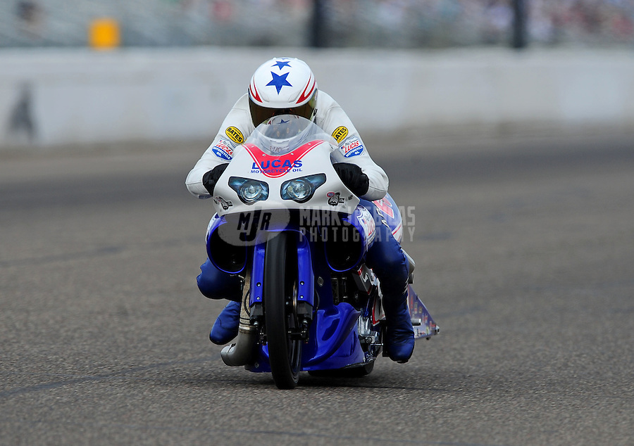 Aug. 20, 2011; Brainerd, MN, USA: NHRA pro stock motorcycle rider Hector Arana Jr during qualifying for the Lucas Oil Nationals at Brainerd International Raceway. Mandatory Credit: Mark J. Rebilas-