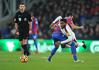 Burnley's Georges-Kevin Nkoudou is fouled by Crystal Palace's Luka Milivojevic<br /> <br /> Photographer Ashley Crowden/CameraSport<br /> <br /> The Premier League - Crystal Palace v Burnley - Saturday 13th January 2018 - Selhurst Park - London<br /> <br /> World Copyright &copy; 2018 CameraSport. All rights reserved. 43 Linden Ave. Countesthorpe. Leicester. England. LE8 5PG - Tel: +44 (0) 116 277 4147 - admin@camerasport.com - www.camerasport.com