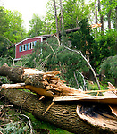SOUTHBURY, CT-052218JS05--Clean up of tornado damage along Horse Fence Hill Road in Southbury is slow going and restoration efforts will take a long time. <br /> Jim Shannon Republican American