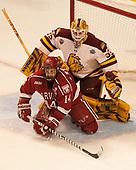 Hunter Miska (UMD - 35), Alexander Kerfoot (Harvard - 14) - The University of Minnesota Duluth Bulldogs defeated the Harvard University Crimson 2-1 in their Frozen Four semi-final on April 6, 2017, at the United Center in Chicago, Illinois.