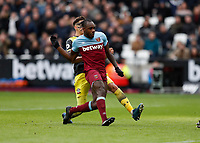 29th February 2020; London Stadium, London, England; English Premier League Football, West Ham United versus Southampton; Michail Antonio of West Ham United shoots to score his sides 3rd goal in the 54th minute to make it 3-1