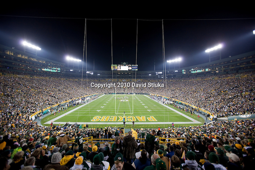 A general view of Lambeau Field during the Green Bay Packers NFL football game against the Dallas Cowboys in Green Bay, Wisconsin on November 7, 2010. The Packers won 45-7. (AP Photo/David Stluka)