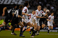 Twickenham, GREAT BRITAIN, Harry ELLIS, passes the ball to Mike TINDALL, during the  England vs Scotland, Calcutta Cup Rugby match played at the  RFU Twickenham Stadium on Sat 03.02.2007  [Photo, Peter Spurrier/Intersport-images]....