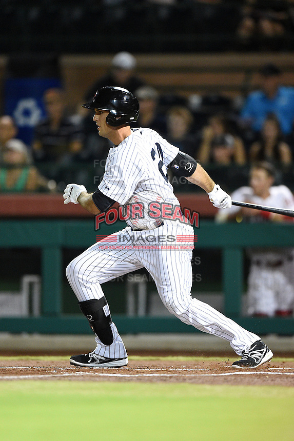 Scottsdale Scorpions infielder Greg Bird (20) during an Arizona Fall League game against the Salt River Rafters on October 8, 2014 at Scottsdale Stadium in Scottsdale, Arizona.  Salt River defeated Scottsdale 6-3.  (Mike Janes/Four Seam Images)