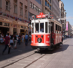 Nostalgic Tram 02 - The Nostalgic Tram, an original streetcar built in the early 20th-century, running between Tunel and Taksim in Istiklal Caddesi, Beyoglu, Istanbul, Turkey