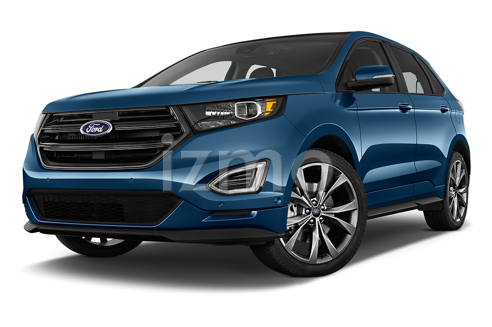 Stock pictures of low aggressive front three quarter view of 2018 Ford Edge Sport 5 Door SUV