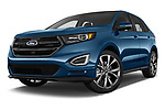 Stock pictures of low aggressive front three quarter view of 2017 Ford Edge Sport 5 Door SUV