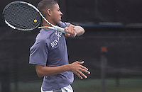 NWA Democrat-Gazette/J.T. WAMPLER Fayetteville High School's Morquese Hayes watches his volley Wednesday Oct. 5, 2016 at the 7A-West Tennis Tournament in Bentonville.
