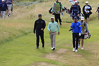 Jon Rahm (ESP), Graeme McDowell (NIR) and Rafael Cabrera-Bello (ESP) walk off the par3 14th tee during Thursday's Round 1 of the 2018 Dubai Duty Free Irish Open, held at Ballyliffin Golf Club, Ireland. 5th July 2018.<br /> Picture: Eoin Clarke | Golffile<br /> <br /> <br /> All photos usage must carry mandatory copyright credit (&copy; Golffile | Eoin Clarke)