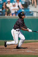 San Jose Giants second baseman Jalen Miller (2) follows through on his swing during a California League game against the Lancaster JetHawks at San Jose Municipal Stadium on May 12, 2018 in San Jose, California. Lancaster defeated San Jose 7-6. (Zachary Lucy/Four Seam Images)