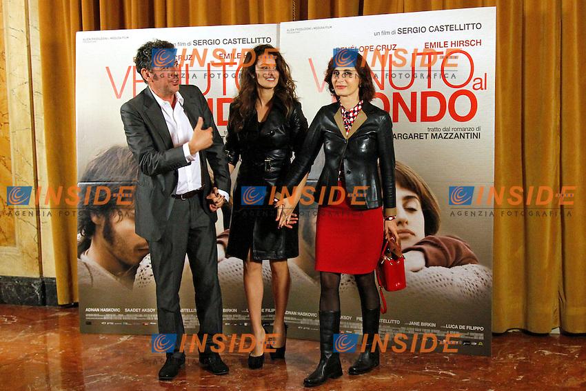 Sergio Castellitto, Penelope Cruz e Margaret Mazzantini.Roma 05/11/2012 Photocall del film Venuto al mondo all'Hotel St. Regis..Photo Samantha Zucchi Insidefoto