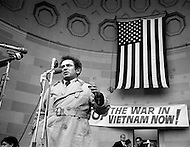 1970, NYC, USA --- American writer and journalist Norman Mailer speaking at a protest against the war in Vietnam. The subjects of his writings include violence, hysteria, crime, and the disarray of modern American society. --- Image by © JP Laffont
