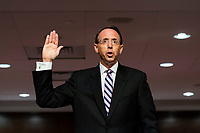 Former United States Deputy Attorney General Rod Rosenstein is sworn in prior to testifying before a Republican-led Senate Judiciary Committee hearing on ëCrossfire Hurricane,í the FBI's probe into Russian election interference and the 2016 Trump campaign in the Dirksen Senate Office Building in Washington, DC, USA, 03 June 2020.<br /> Credit: Jim LoScalzo / Pool via CNP/AdMedia