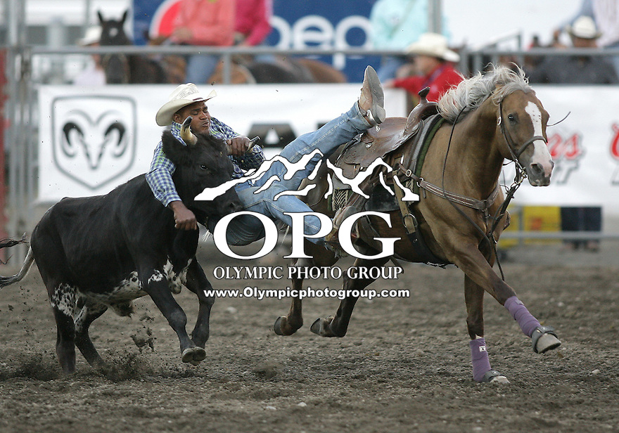 25 Aug 2010:  Tommy Cook scored a time of  7.7 in the Steer Wrestling competition at the Kitsap County Stampede Wrangle Million Dollar PRCA Silver Rodeo Tour Bremerton, Washington.