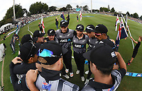 Kane Williamson talks to his team mates before the start of the match. New Zealand Black Caps v England.Tri-Series International Twenty20 cricket. Eden Park, Auckland, New Zealand. Sunday 18 February 2018. © Copyright Photo: Andrew Cornaga / www.Photosport.nz