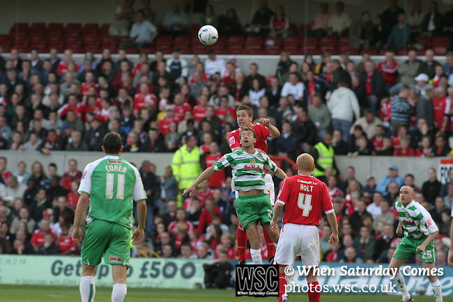 Nottingham Forest 2 Yeovil Town 5, 18/05/2007. City Ground, League One Play Off Semi Final 2nd Leg. Action from Nottingham Forest's League One play-off semi-final match against Yeovil Town at the City Ground. Forest had won the first leg by 2 goals to nil at Yeovil the previous week but were defeated by 5 goals to 2 after extra time and missed out on the play-off final at Wembley. Yeovil went on to play Blackpool in the final for the one remaining promotion place to the Championship. Photo by Colin McPherson.