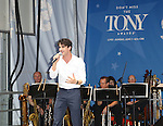 Darren Criss performing at United presents 'Stars in the Alley' in  Shubert Alley on May 27, 2015 in New York City.