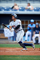 Lakeland Flying Tigers catcher Arvicent Perez (13) follows through on a swing during a game against the Charlotte Stone Crabs on April 16, 2017 at Charlotte Sports Park in Port Charlotte, Florida.  Lakeland defeated Charlotte 4-2.  (Mike Janes/Four Seam Images)