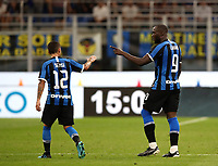 Calcio, Serie A: Inter Milano - Lecce, Giuseppe Meazza stadium, September 26 agosto 2019.<br /> Inter's Romelu Lukaku (r) celebrates after scoring with his teammate Stefano Sensi (l) during the Italian Serie A football match between Inter and Lecce at Giuseppe Meazza (San Siro) stadium, September August 26,, 2019.<br /> UPDATE IMAGES PRESS/Isabella Bonotto