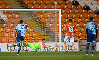 Goalkeeper Jamal Blackman of Wycombe Wanderers saves a penalty from Daniel Philliskirk of Blackpool during the The Checkatrade Trophy match between Blackpool and Wycombe Wanderers at Bloomfield Road, Blackpool, England on 10 January 2017. Photo by Andy Rowland / PRiME Media Images.