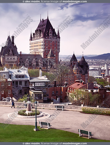 Scenic view of Fairmont Le Château Frontenac with dramatic sky, luxury grand hotel Chateau Frontenac, National Historic Site of Canada. Old Quebec City, Quebec, Canada. Ville de Québec. Spring 2017.