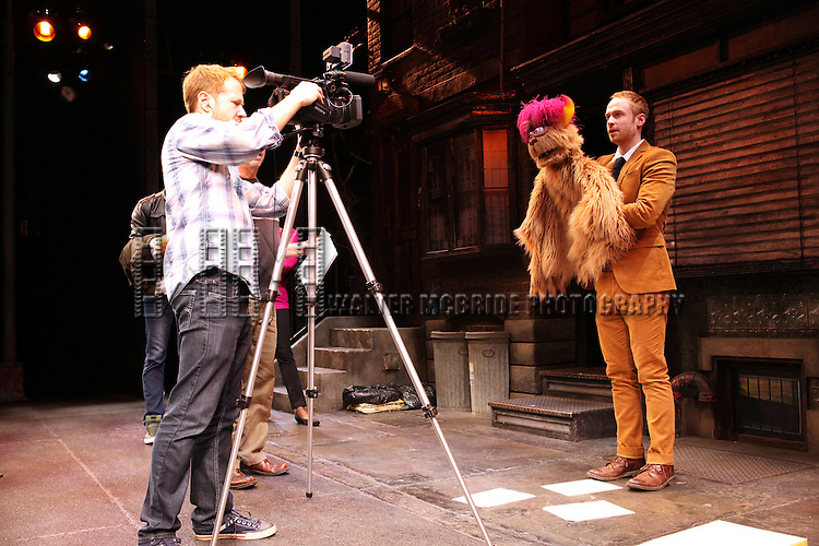 Rob Morrison (Trekkie Monster)  - The cast of 'Avenue Q' celebrating their 3rd Anniversary Off-Broadway and filming a PSA in support of the Public Broadcasting System at The World Stages on 10/22/2012 in New York City.