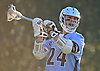 Luke Hickam #24 of Oceanside makes a pass during a Nassau County varsity boys lacrosse game against Syosset at Syosset-Woodbury Community Park on Tuesday, Apr. 12, 2016. Syosset won by a score of 18-4.