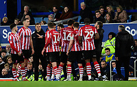 Lincoln City manager Danny Cowley, centre, speaks to his players during a break in play<br /> <br /> Photographer Chris Vaughan/CameraSport<br /> <br /> Emirates FA Cup Third Round - Everton v Lincoln City - Saturday 5th January 2019 - Goodison Park - Liverpool<br />  <br /> World Copyright &copy; 2019 CameraSport. All rights reserved. 43 Linden Ave. Countesthorpe. Leicester. England. LE8 5PG - Tel: +44 (0) 116 277 4147 - admin@camerasport.com - www.camerasport.com